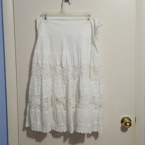 Cute Options White L Floral Skirt
